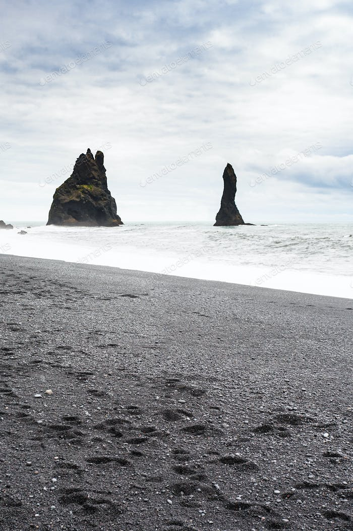 Reynisdrangar basalt stacks on Reynisfjara Beach