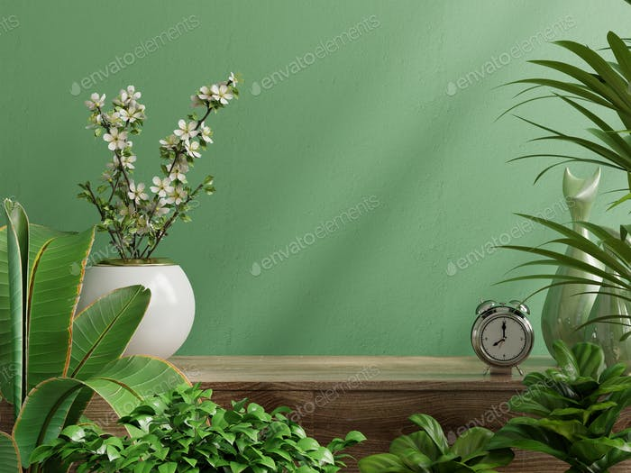 Interior wall mockup with plant,Green wall and shelf.
