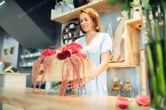 Weibliche Blumenhändler legt Blumen in eine Vase, Blumenladen