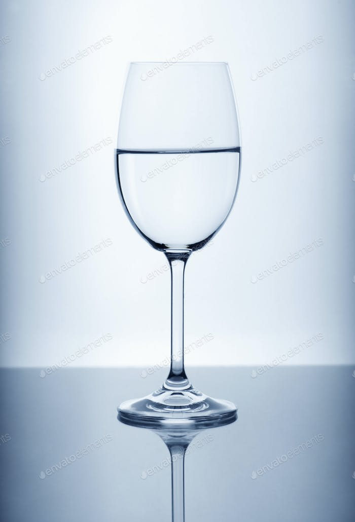 Wine glass on the light background