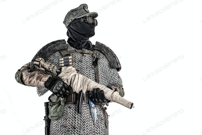 Post apocalyptic soldier aiming firearm weapon