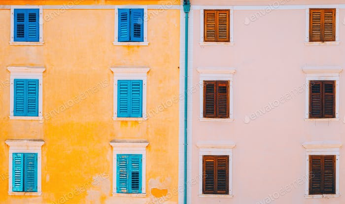 Typical mediterranean facade architecture style
