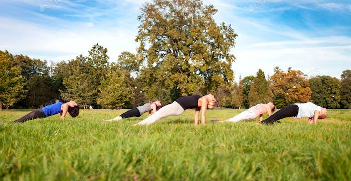 Gemischte Altersgruppe von Menschen, die Yoga draußen im Park praktizieren