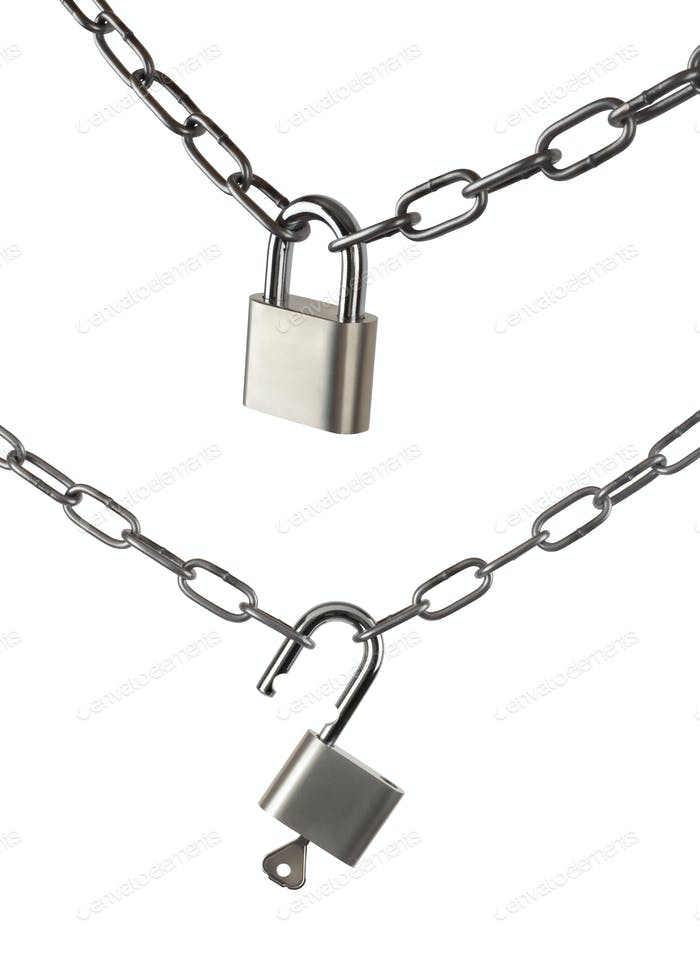 Key lock locked and opened with a chain
