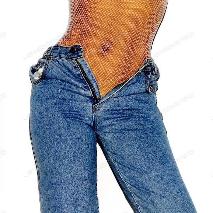 Girl vintage jeans. Stylish look