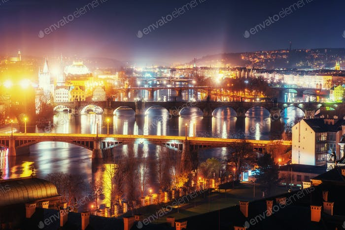 Evening View of The Vltava River and Bridges in Prague