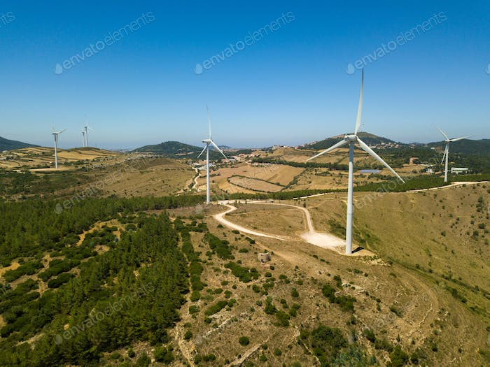 Aerial View Of Energy Producing Wind Turbines