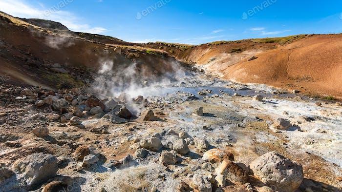 saure Quellen in Krysuvik Gebiet, Island