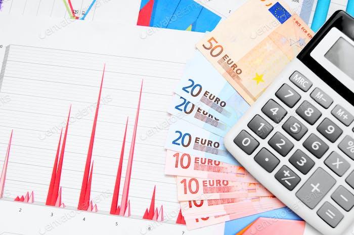 Calculadora, dinero (euro) en gráficos.