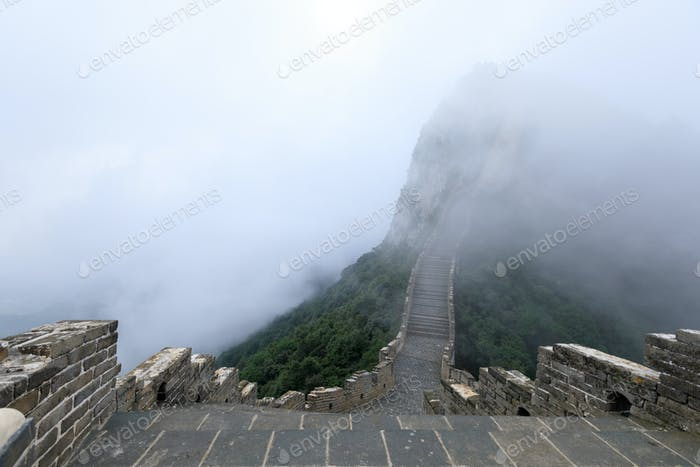 Chinese great wall in the foggy weather