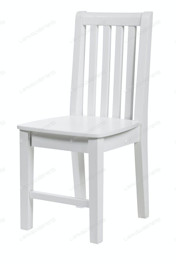 Wooden chair over white background