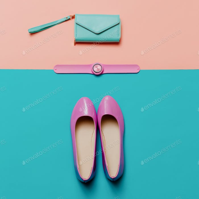 Shoes and accessories. Pink trend. Top view. Be stylish