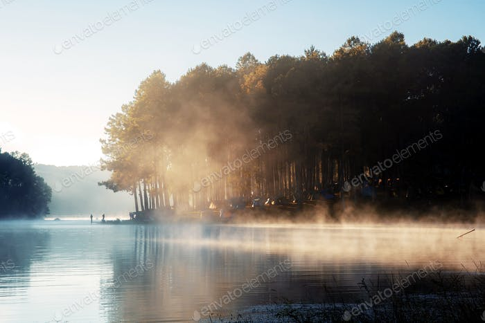 Pang oung reservoir with fog and sunrise