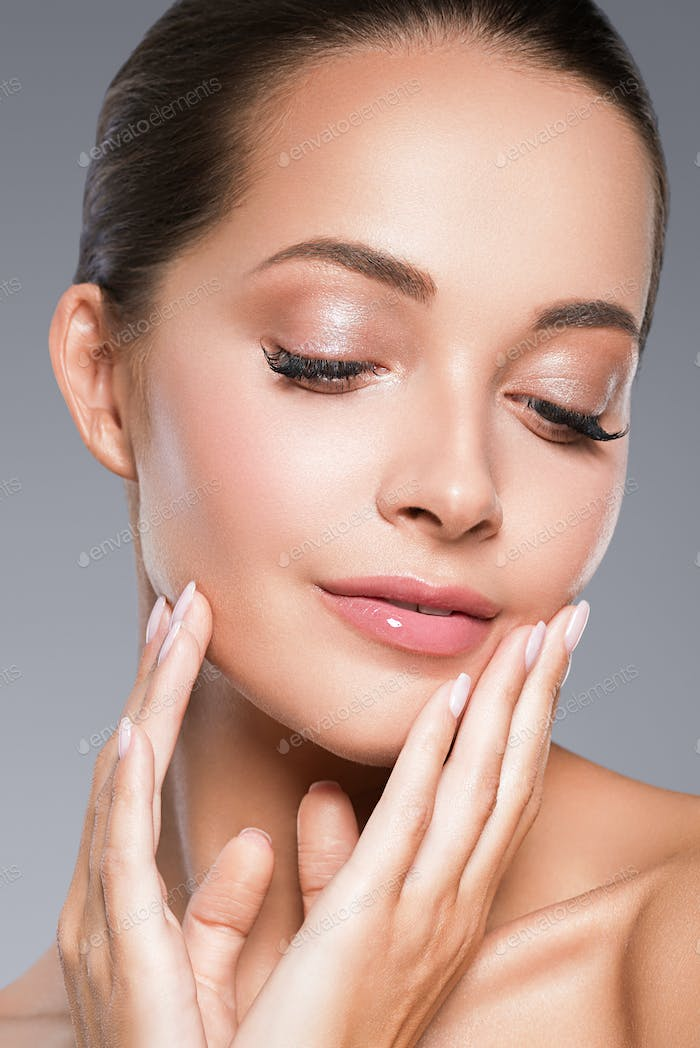 Skin care woman beauty face healthy face skin cosmetic model emotional andhappy