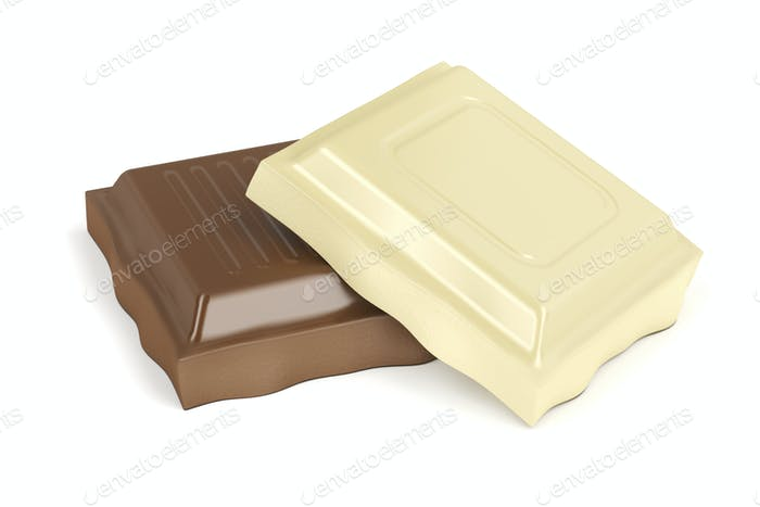 White and brown chocolate pieces