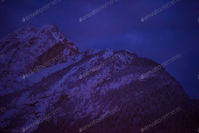 mountain village in alps  at night