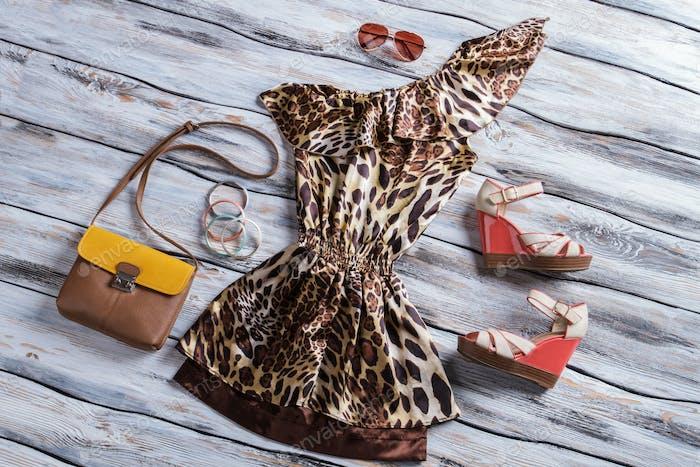Leopardenkleid mit zweifarbiger Geldbörse.