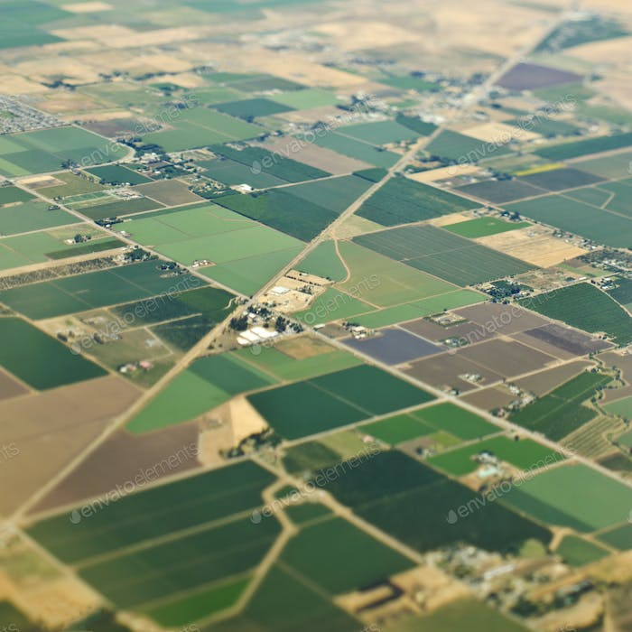 Aerial View Roads in an Agricultural Community