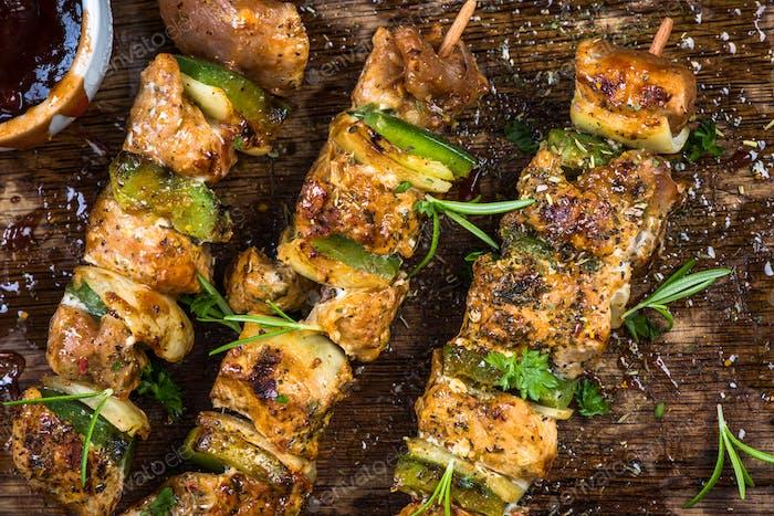 Grilled food with herbs, summer menu