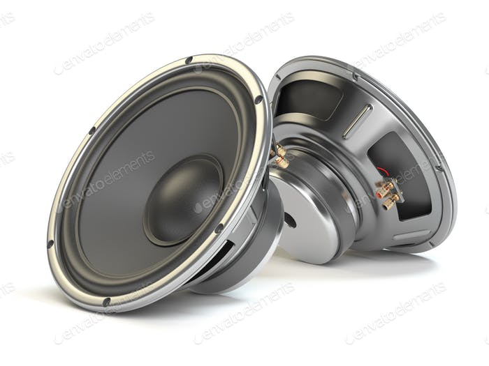 Sound speakers. Multimedia acoustic loudspeakers isolated on whi
