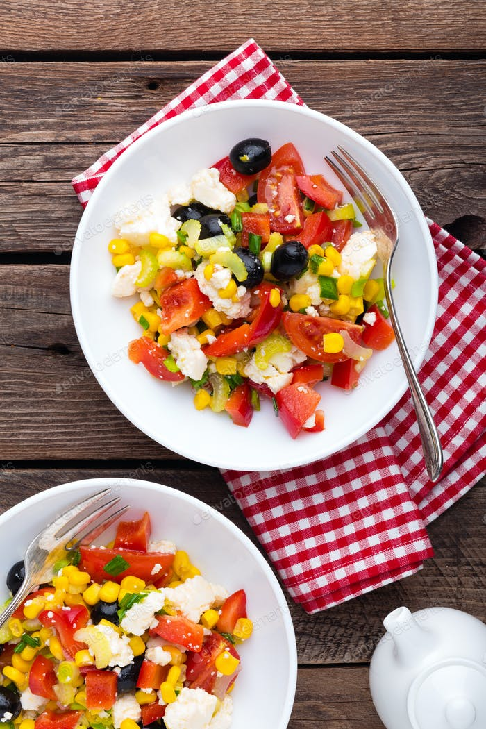 Fresh vegetable salad with feta cheese