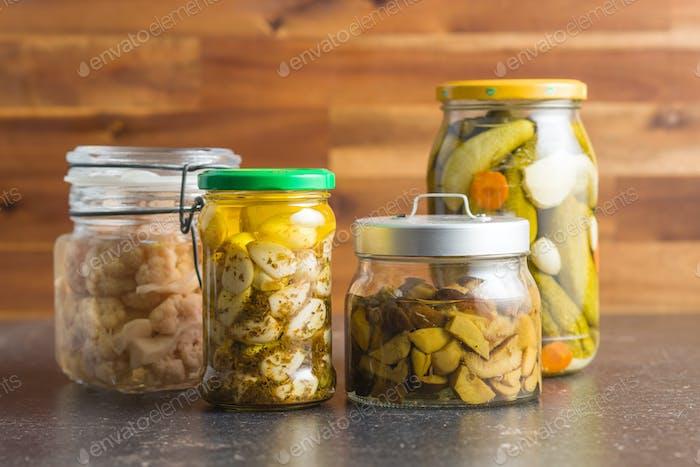 Pickled vegetable in jar.