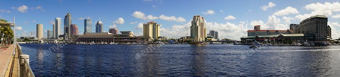 Marine Boat Ship Canal Downtown Urban Metro Skyline Tampa Bay Florida
