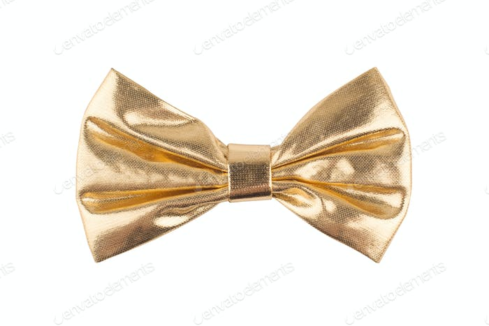 golden bow tie on white background