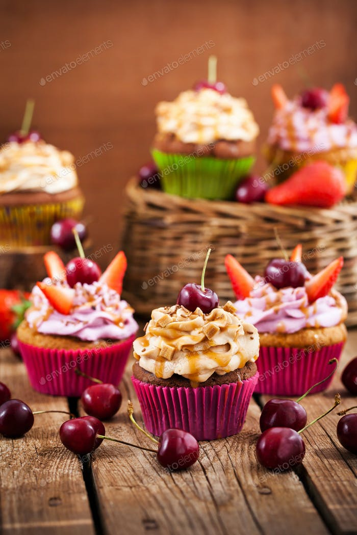 Different delicious cupcakes