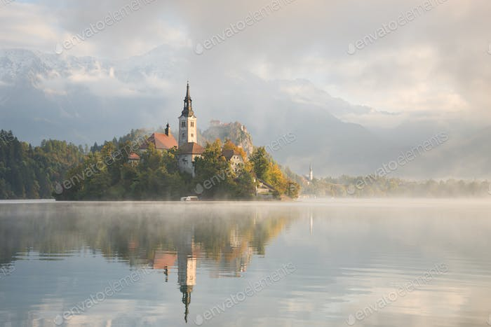 Foggy morning at Bled Lake in Slovenia