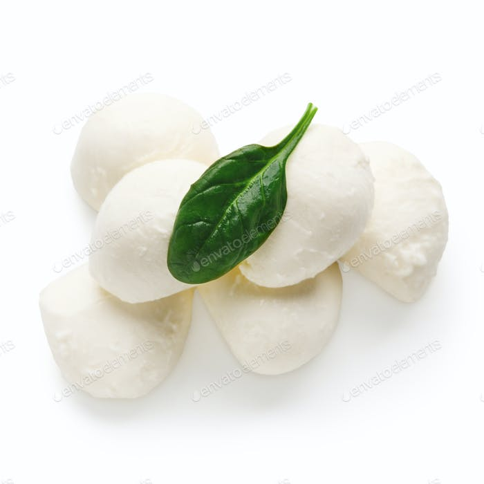 Mozzarella cheese and basil on white