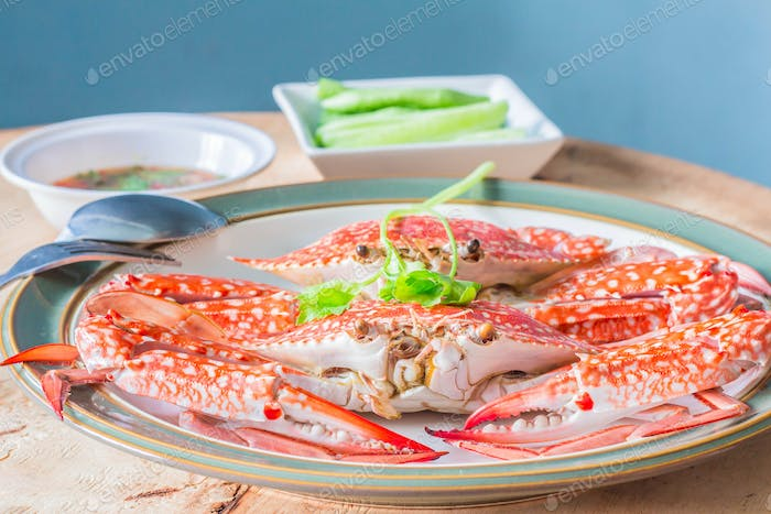 Chili crab saucer placed on table