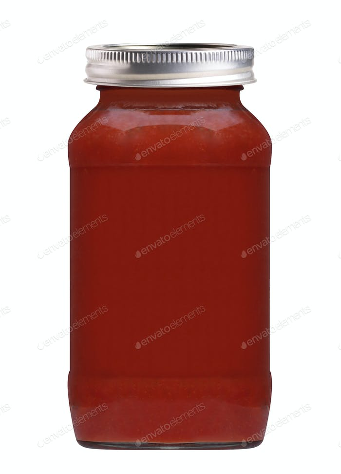 Glasflasche Tomatensaft isoliert auf weiß