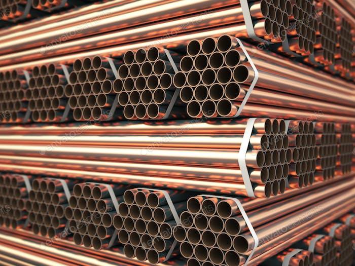 Kupfer- oder Bronze-Metallrohre im Lager. Schwere Nichteisenhaltige erfüllt