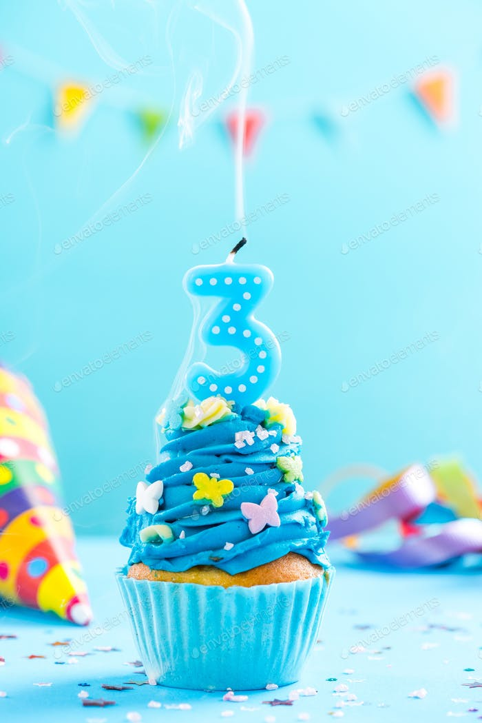 Third 3rd birthday cupcake with candle blow out.Card mockup.