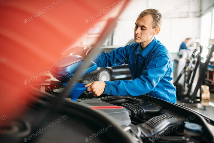 Technician pours new oil into the car engine