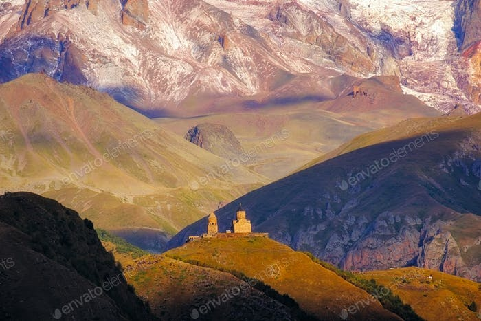 Landscape view of Tsminda Sameba church in Kazbegi, Georgia