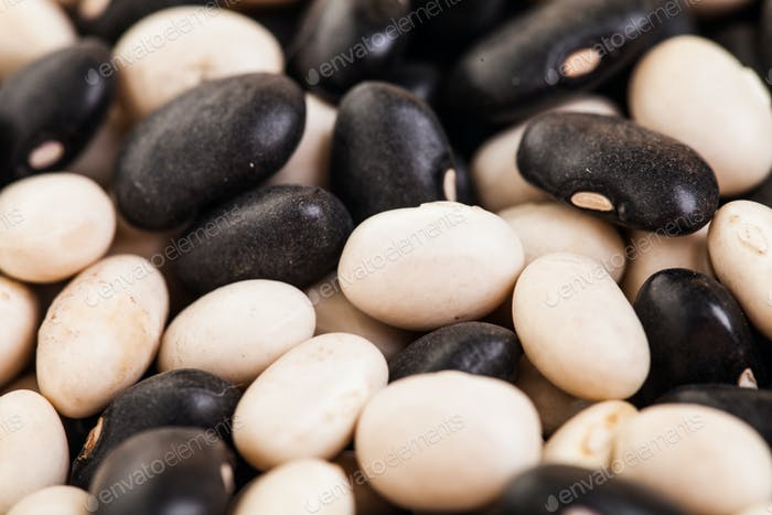Extreme Closeup Texture of Black and White Beans