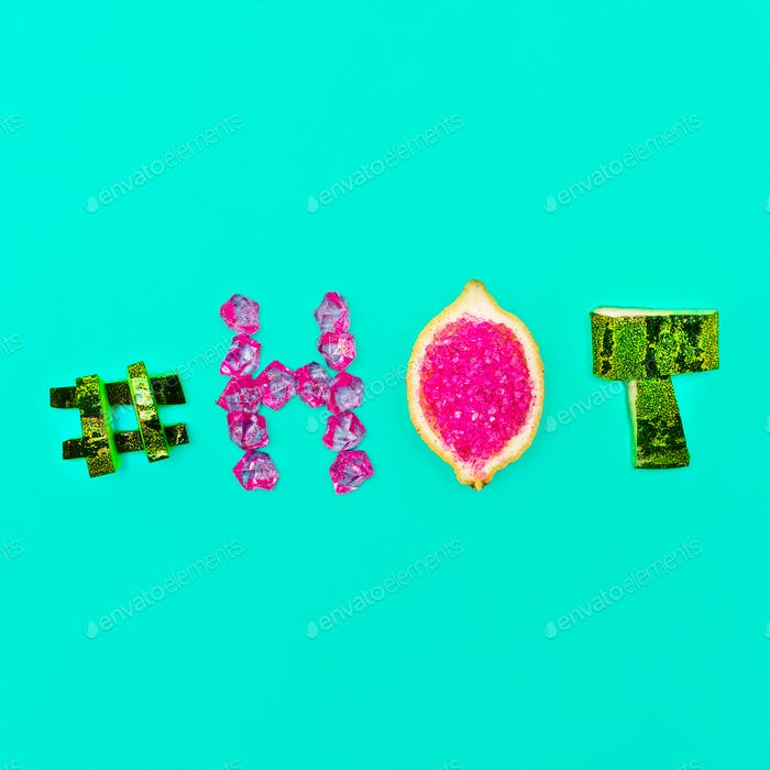 Minimal design Summer mood Fresh Fruit Crystals hashtag hot and
