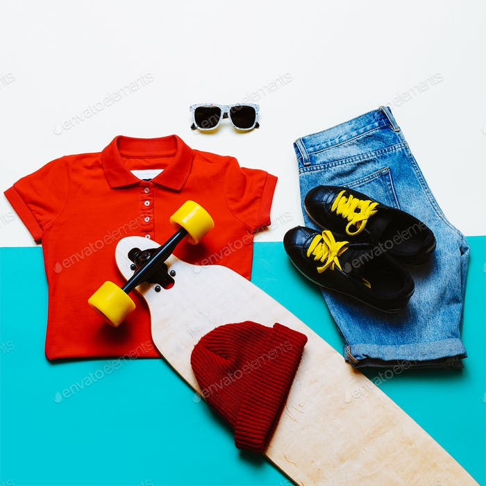 Urban style set. Jeans T-shirt glasses. Skateboard fashion. Acti