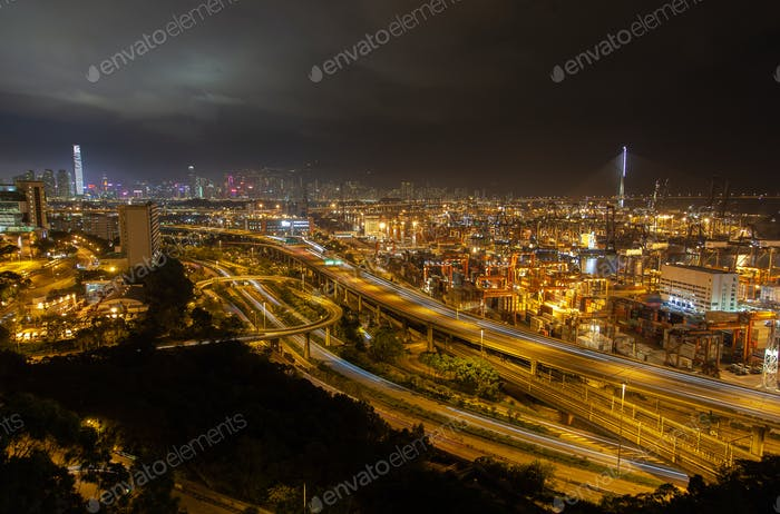 Container port large Hong Kong overpass road with busy traffic