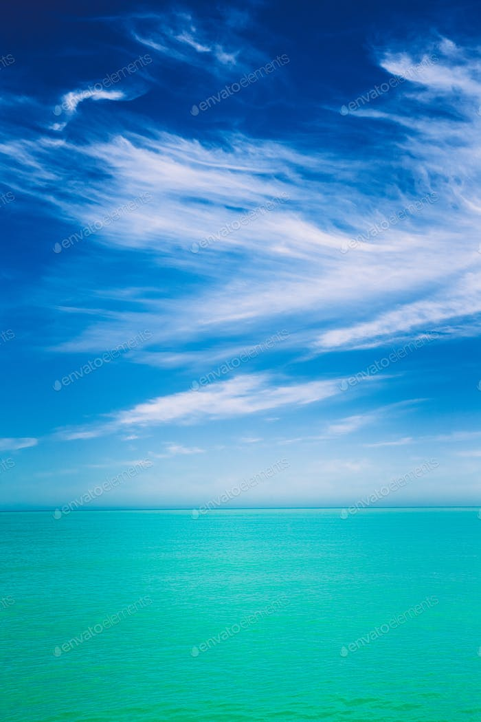 Sky Over Calm Water Of Sea Or Ocean. Natural Background With Gen