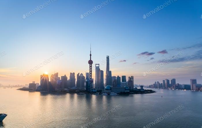 charming shanghai skyline in sunrise