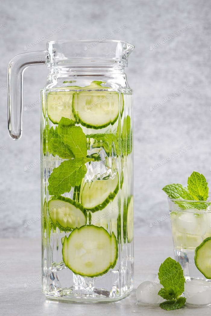 Ice cold refreshing cucumber and mint lemonade