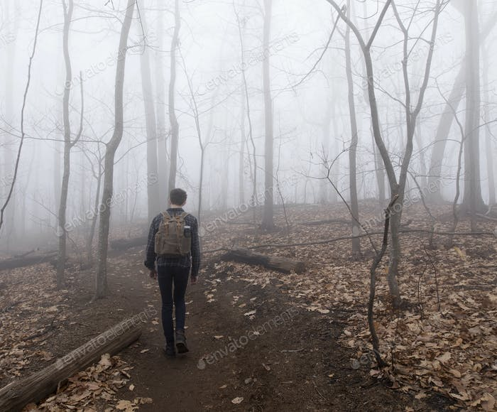 Teenager hiking through foggy forest with bare trees.