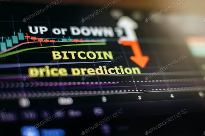 Cryptocurrency price prediction movement of Bitcoing on screen