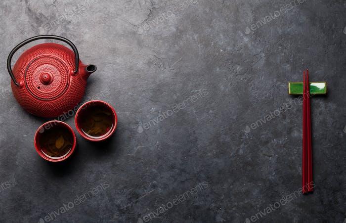 Japanese tea and chopsticks