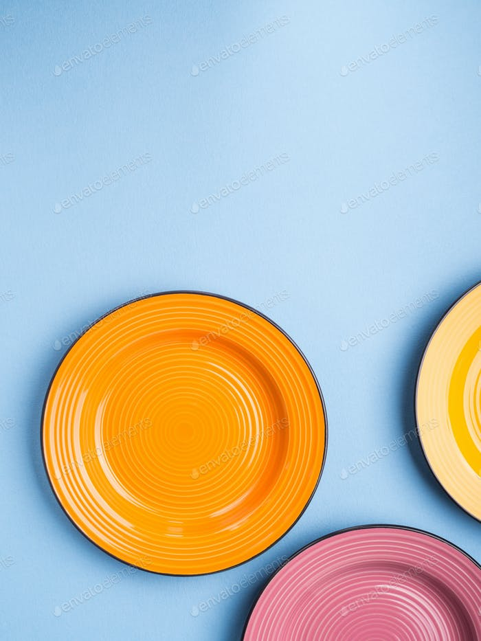 Colorful ceramic dishes. Flat lay