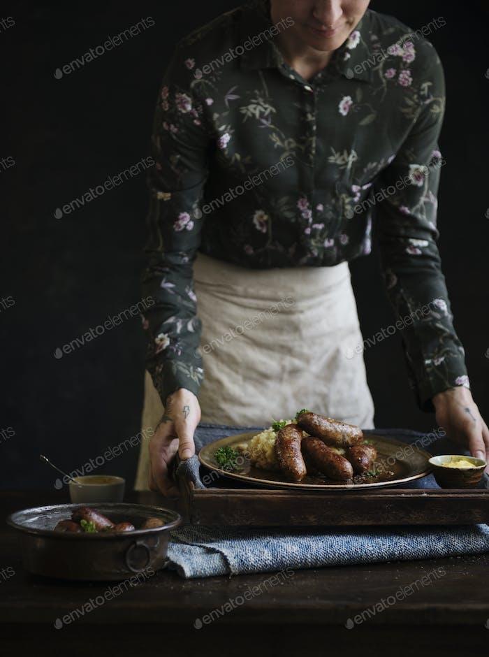 Bangers & mash food photography recipe idea