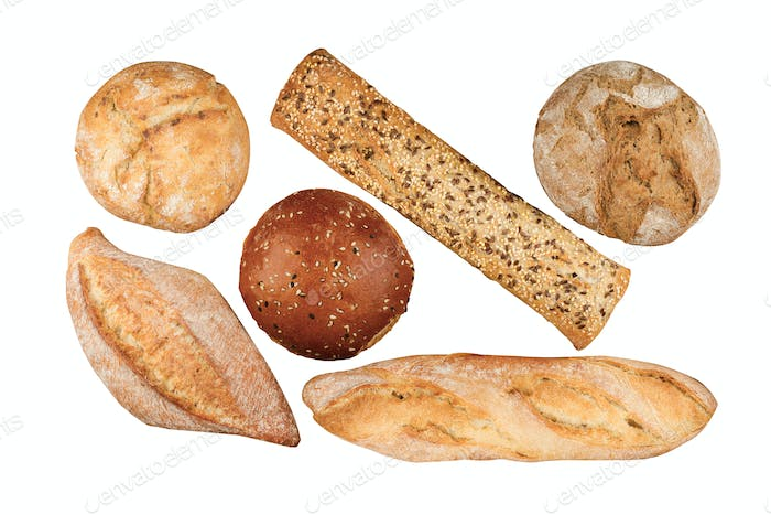 different types of bread on isolated on white